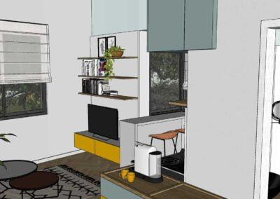 הדמיות לדירה קטנה סקצ'אפ